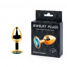 Golden plug small (втулка анальная) цвет кристалла голубой, l 72 мм, d 28 мм, вес 50г